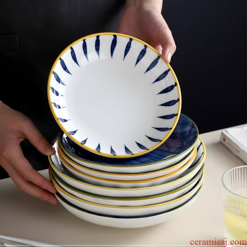 Japanese dish dish dish combination western food to eat soup plate creative web celebrity deep set tableware ceramic plate of steak