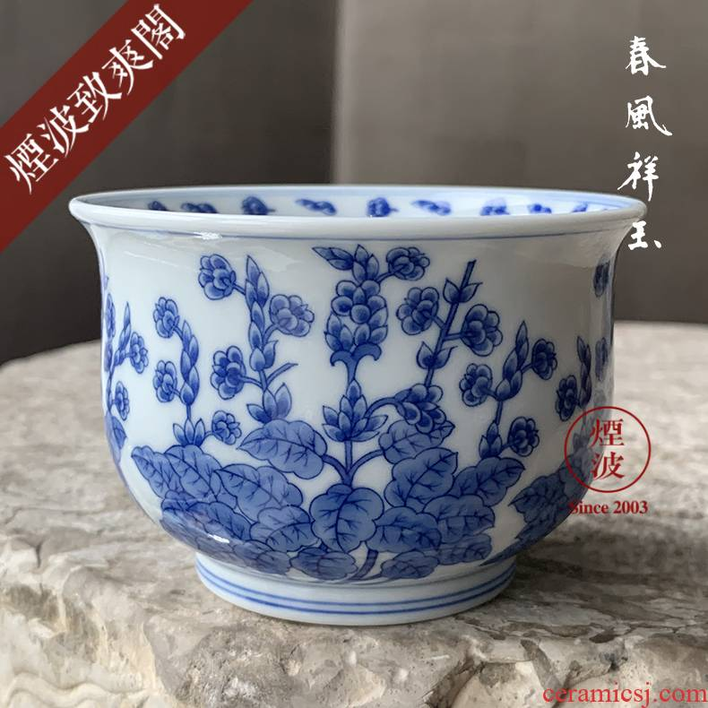 Jingdezhen spring auspicious jade Zou Jun up the system model of blue and white porcelain earth fo flowers jiang hua furnace type cup drawing