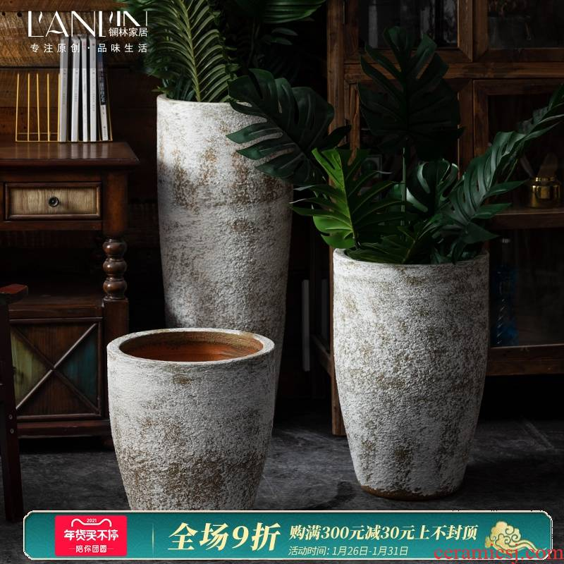 Big flowerpot restoring ancient ways furnishing articles furnishing articles sitting room be born green plant new Chinese style thick cylinder of jingdezhen ceramics some ceramic pot vase