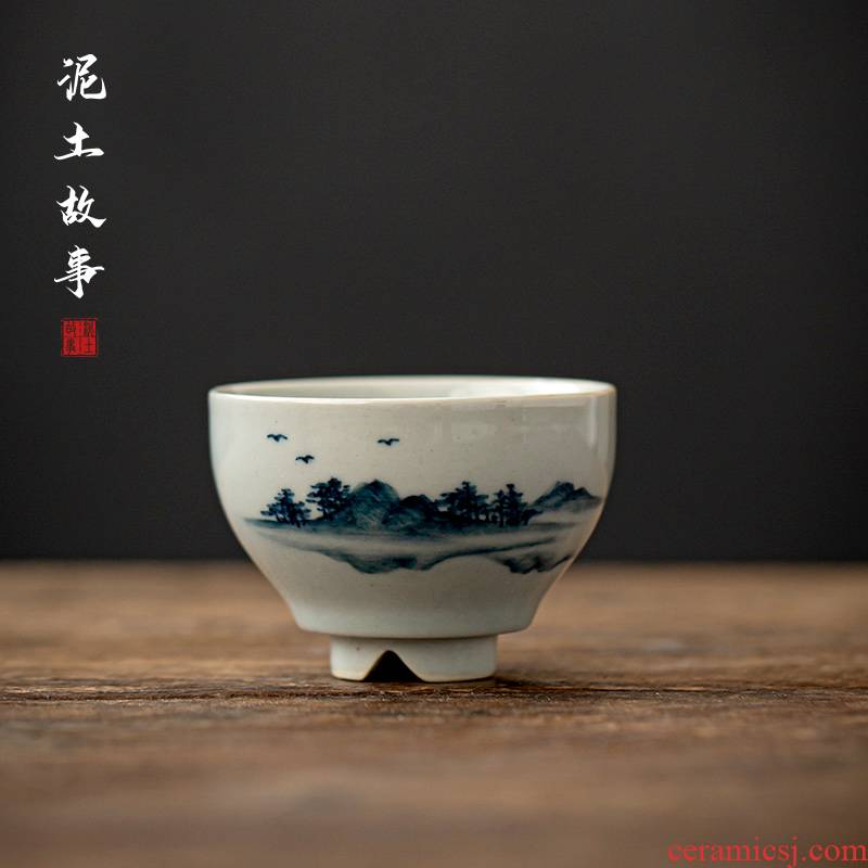 Jingdezhen blue and white clay manual hand - made ancient kung fu tea sample tea cup tea hand - made scenery single CPU restoring ancient ways