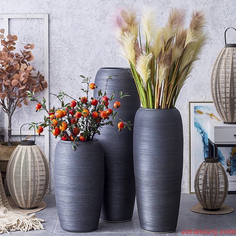 I and contracted large vase Nordic furnishing articles between sitting room flower arranging hotel villa example, black pottery decoration
