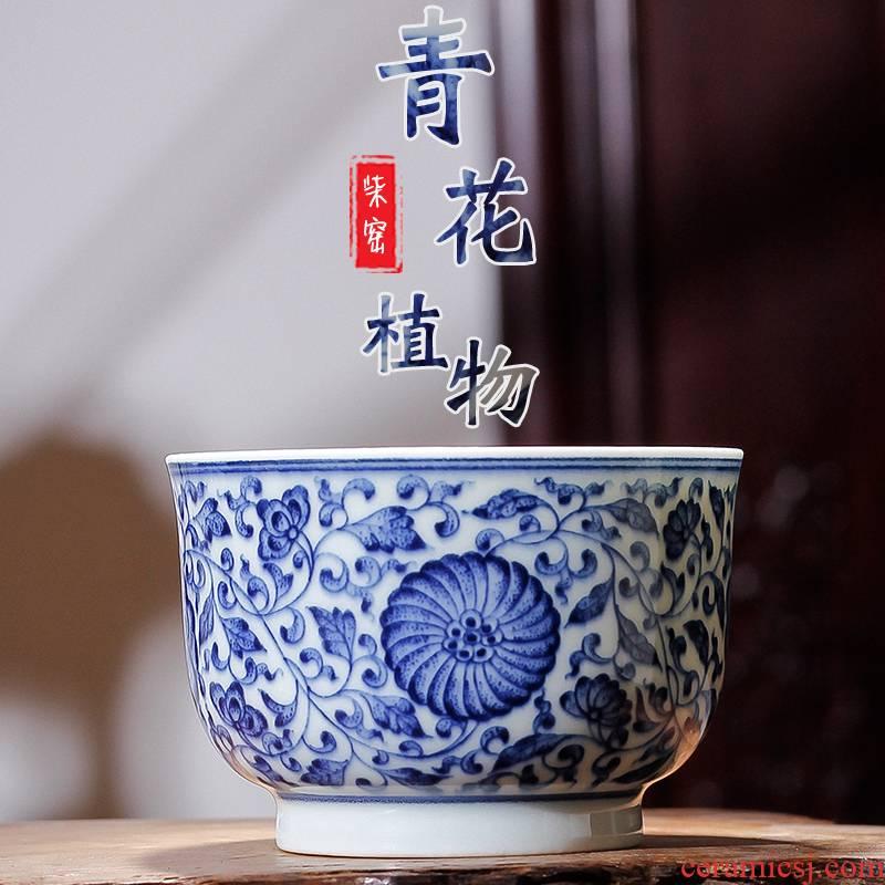 High - grade tea ware hand - made bound lotus flower grain blue and white porcelain teacup master cup single CPU ceramic tea cup sample tea cup
