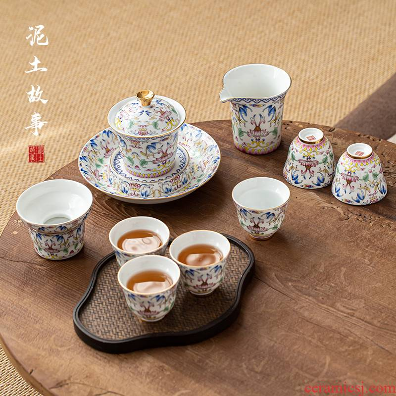 Jingdezhen porcelain enamel Japanese kung fu tea set suits for your contracted household cup of a complete set of custom gift box
