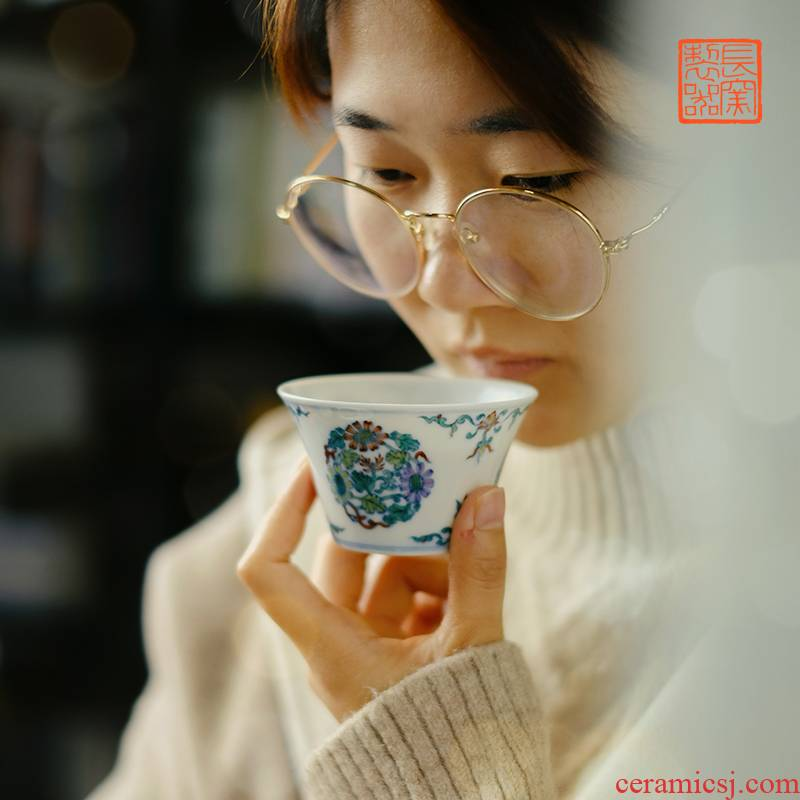 Offered home - cooked in imitation of yongzheng hand - made jingdezhen porcelain dou CaiTuan by CPU manually archaize ceramic tea cups
