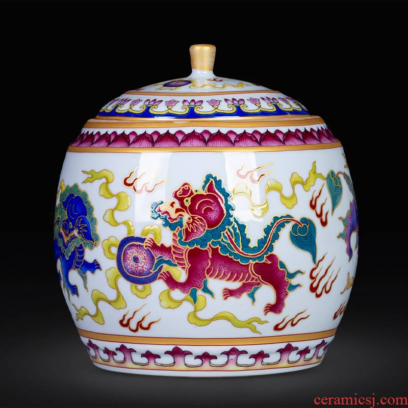 Jingdezhen colored enamel lion ball loose tea tea 500 g puer tea cake pot cover home decoration