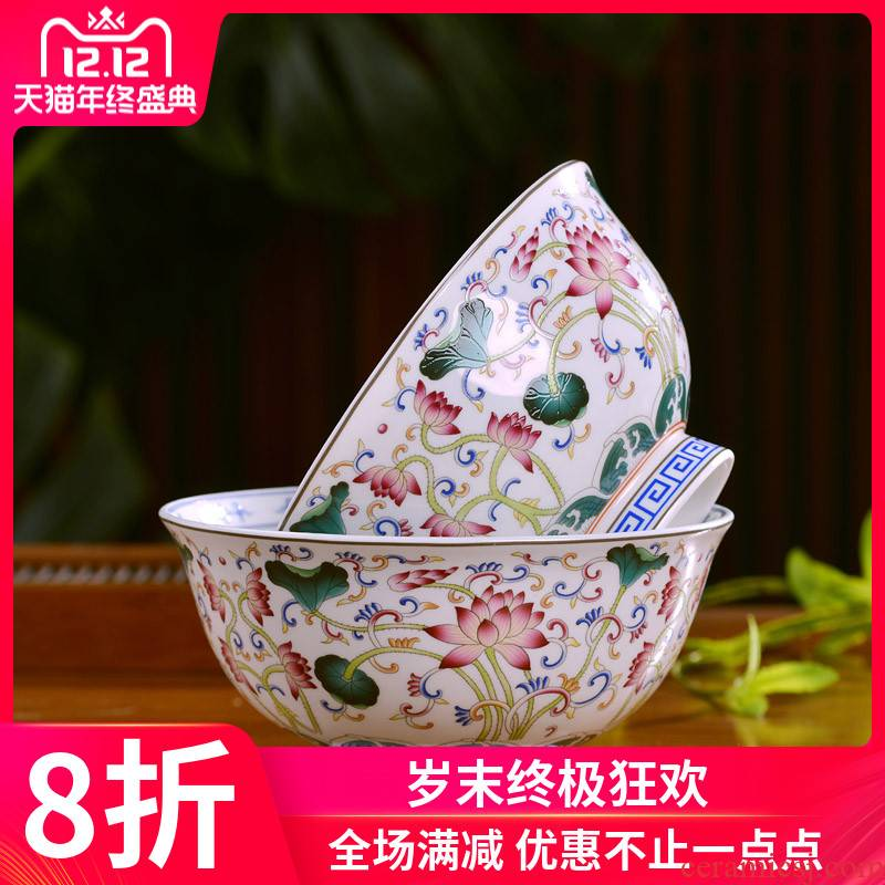 Jingdezhen ceramics bowl plates spoon set tableware free collocation with combination of Chinese style noodles bowl dish soup bowl