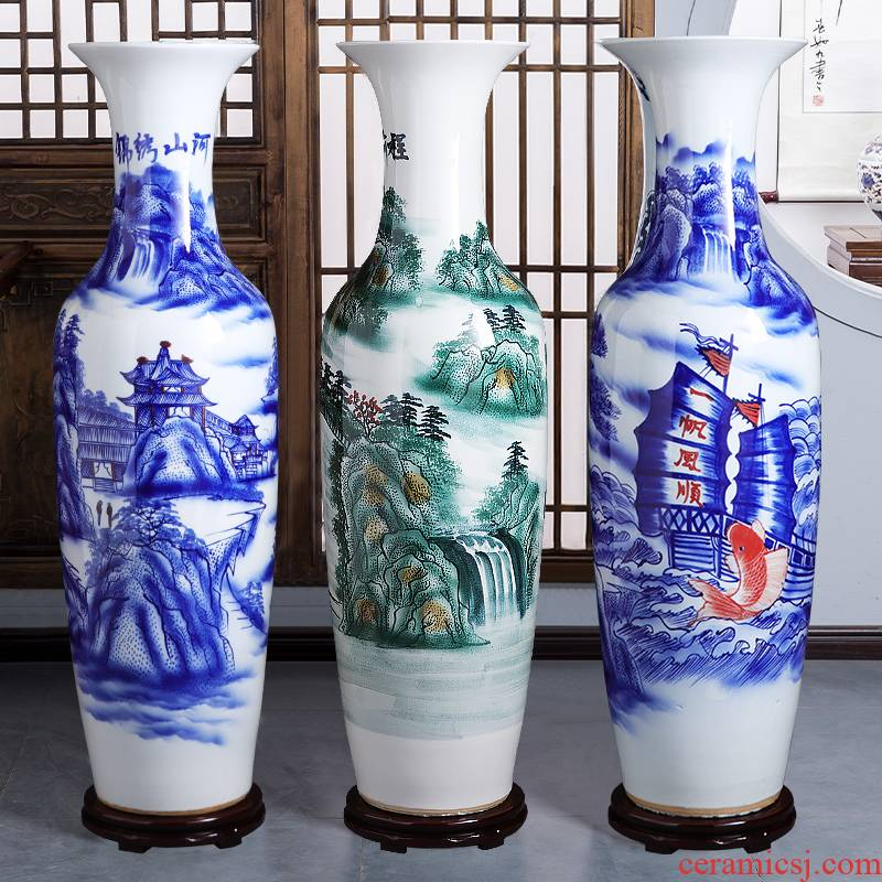 Jingdezhen ceramics hand - made of blue and white porcelain vases, large living room floor furnishing articles to heavy adornment opening gifts