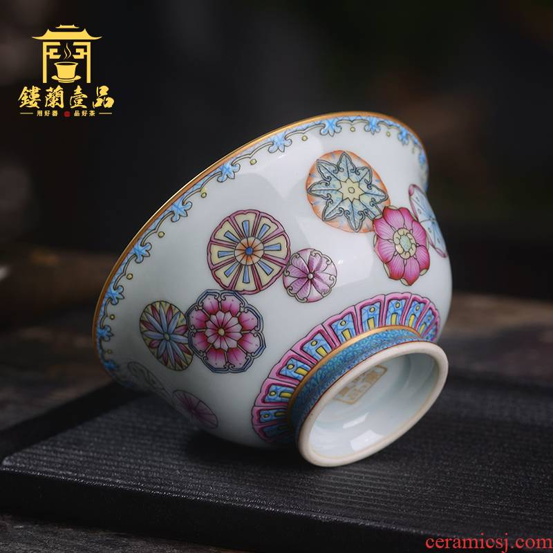 Jingdezhen ceramic all hand - made pastel ball take master of kung fu tea set personal single cup large tea cup