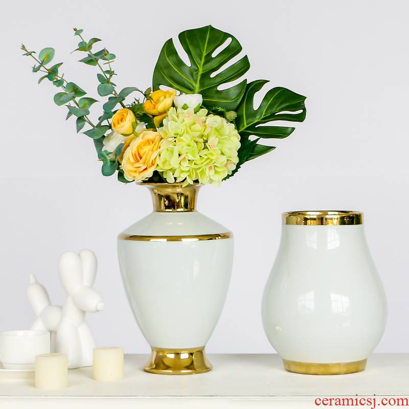 Contracted light European - style key-2 luxury white ceramic vases, flower arrangement of I sitting room decorate up phnom penh table home furnishing articles