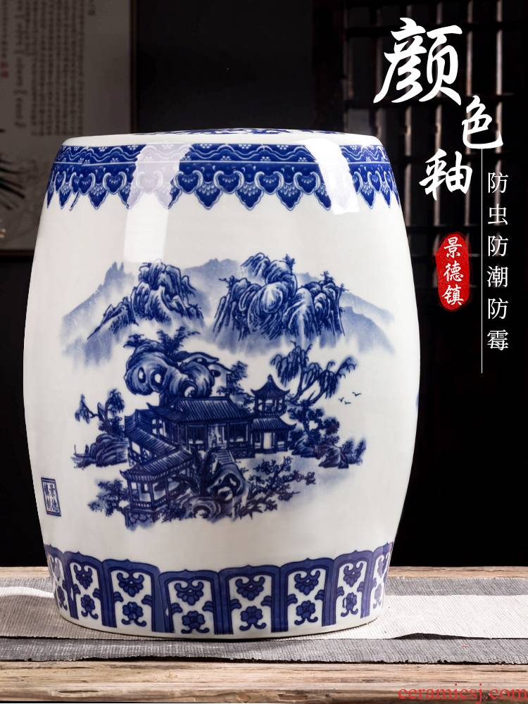 Jingdezhen ceramic barrel rice bucket 50 jins home 20 jins of blue and white porcelain with cover seal insect - resistant moistureproof tank