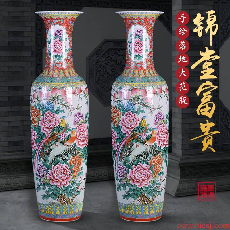 Jingdezhen ceramics big vase pastel heavy ground hotel large sitting room adornment opening gifts furnishing articles