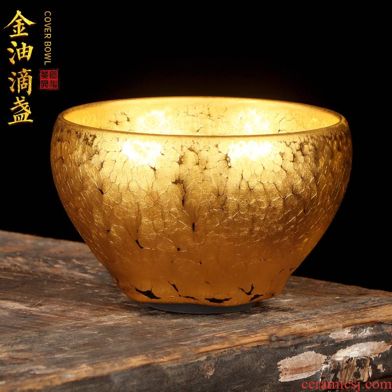 Artisan fairy famous gold oil droplets built light ceramic cups household pure manual tire iron tea master cup single cup size