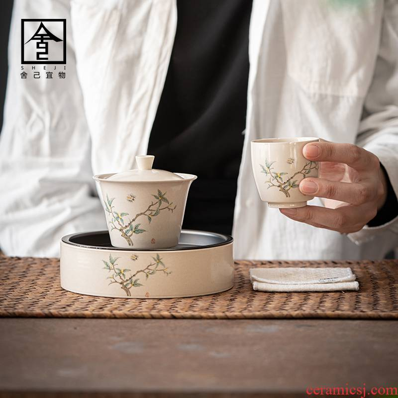 "The Self - ""appropriate content of jingdezhen retro kung fu tea set suit household small set of single small suit a pot of a cup"