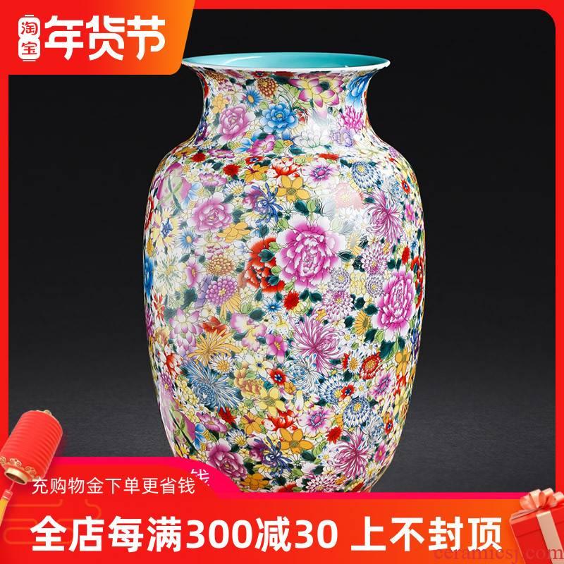 Archaize of jingdezhen ceramics colored enamel flower vases, decorative furnishing articles sitting room decoration flower arrangement craft gift
