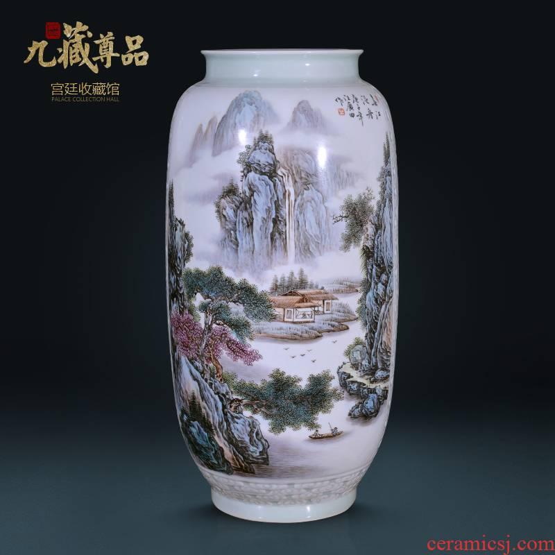 Jingdezhen ceramics Wang Guangtian hand - made chunjiang boat vase Chinese style living room TV cabinet decorative furnishing articles arranging flowers