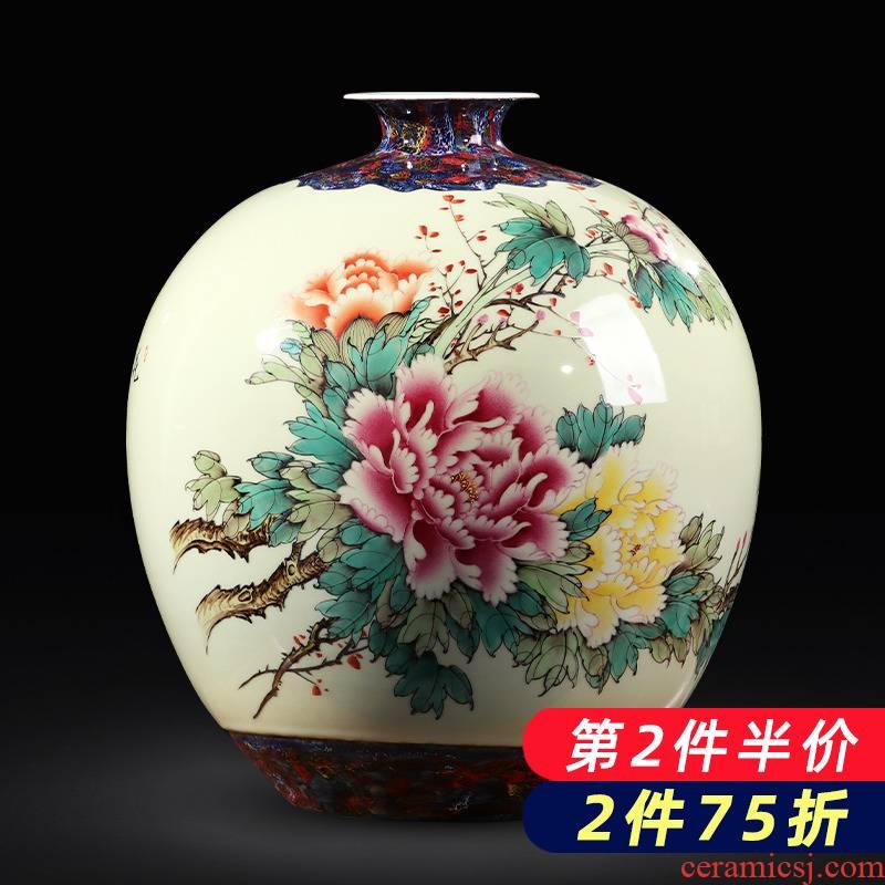 Jingdezhen ceramics hand - made vases large peony pomegranate bottle of flower arranging furnishing articles TV ark, of Chinese style household decoration