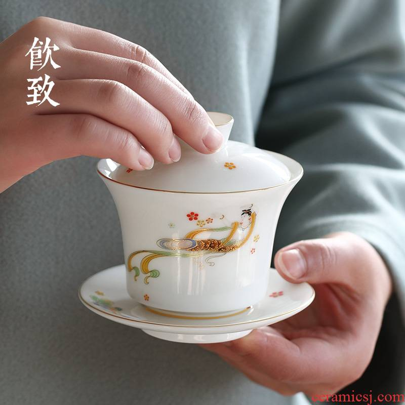 Ultimately responds to dehua white porcelain three just tureen single colored enamel cups not hot kung fu tea sets the master CPU