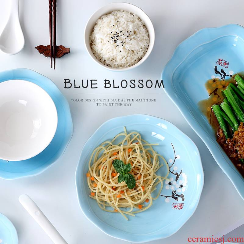 2 to 6 dishes suit household contracted to eat dish bowl 4 combination of jingdezhen ceramic Japanese hand - made tableware