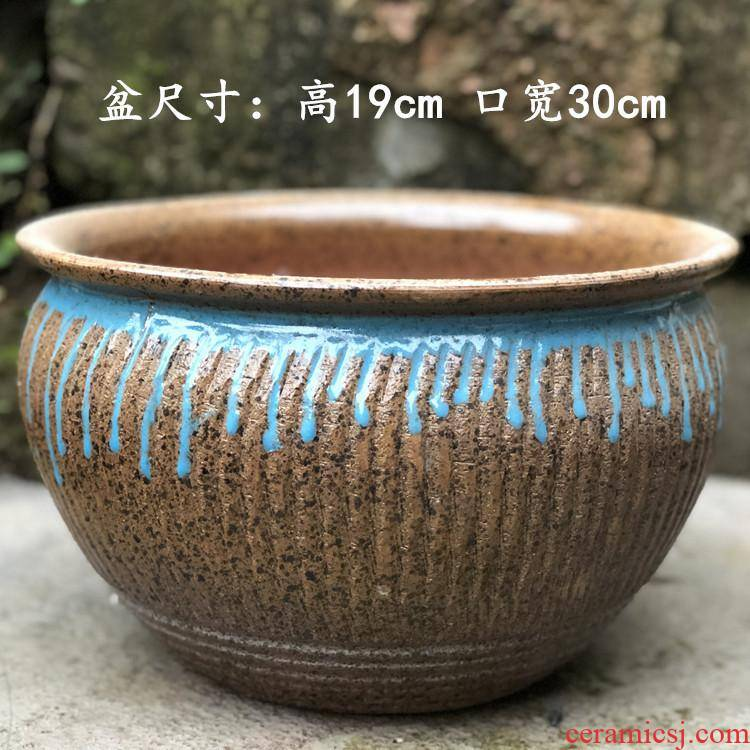 Manual coarse pot super - large diameter ceramic pot large flower pot platter flowerpot more meat more plant POTS