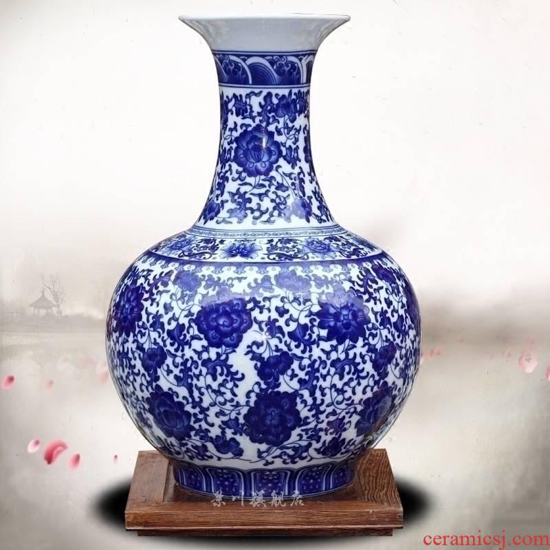 Jingdezhen ceramic blue tie up branch lotus large vase home sitting room mesa office antique craft ornaments