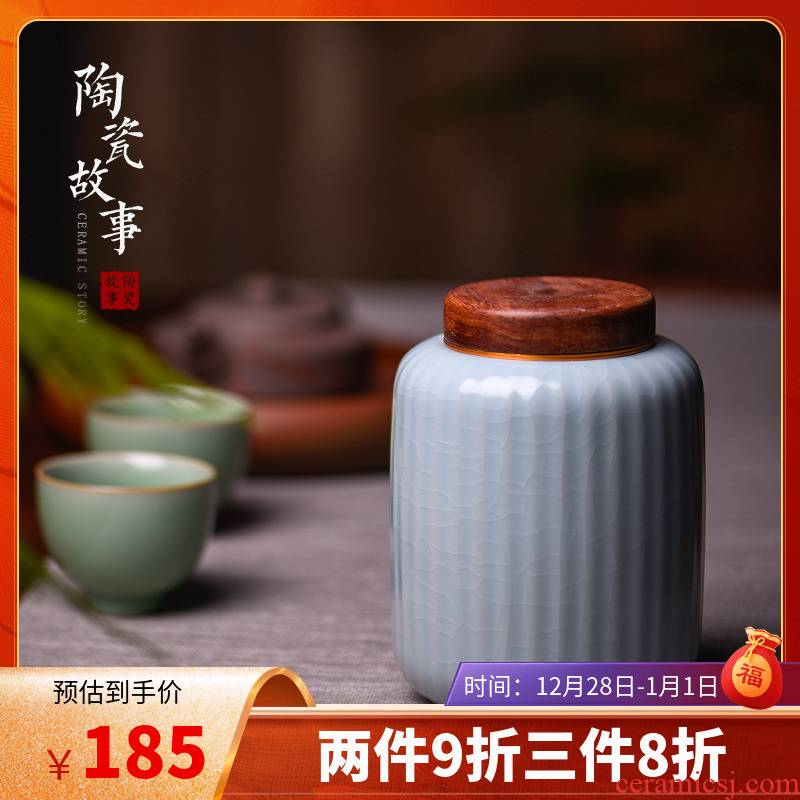 Members of the caddy fixings wooden cover large ceramic sealed as cans white tea tea tea storage tanks and POTS