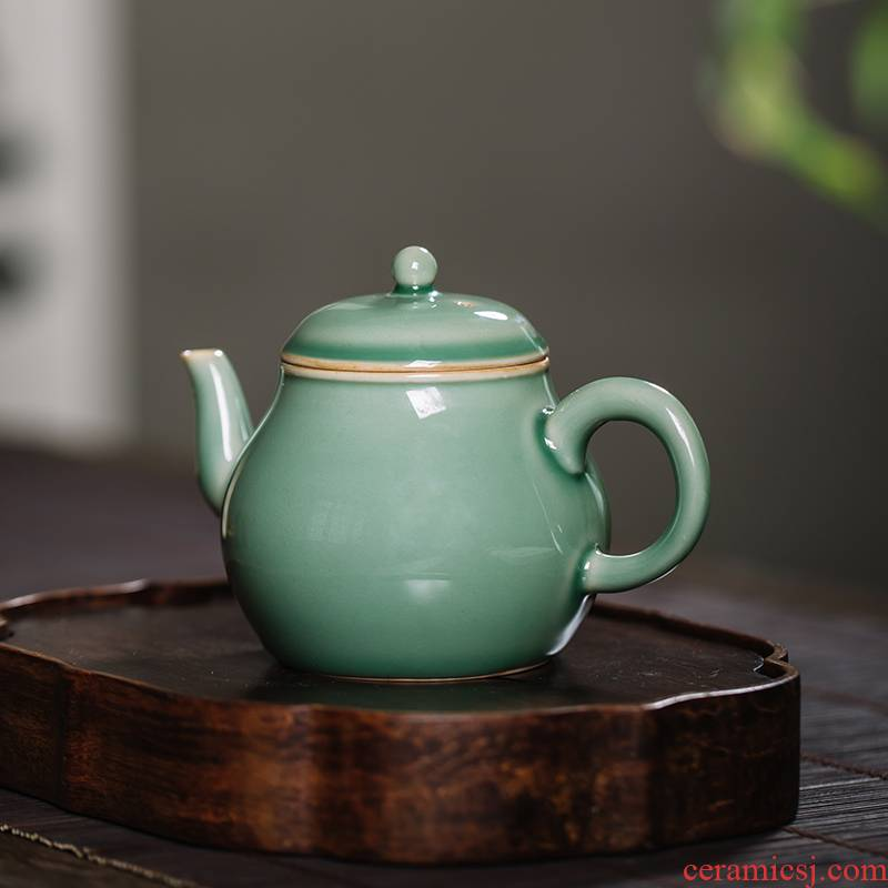 The Owl up jingdezhen teapot name plum green glaze ceramic tea set kung fu tea set small pear pot of antique old mud by hand