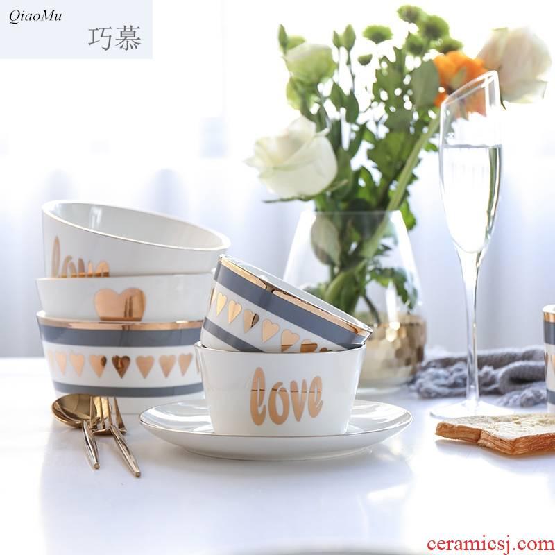 Qiao mu delicate creative series ceramic up phnom penh dish dish plate of rice, fruit salad dessert bowl of household