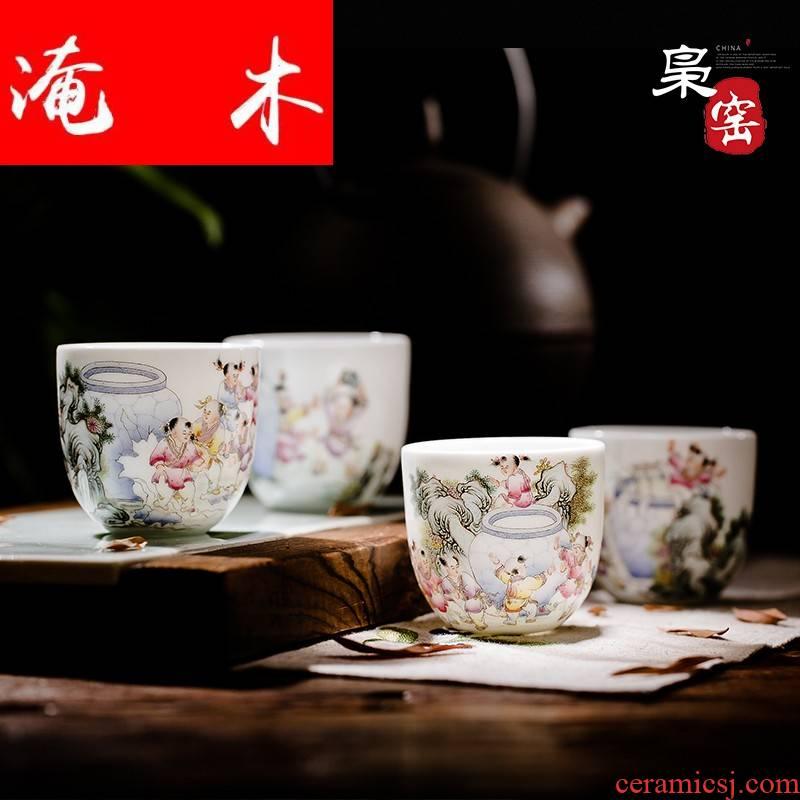 Submerged wood jingdezhen porcelain enamel boutique hand - made ceramic sample tea cup tea sets kung fu tea cups in hand