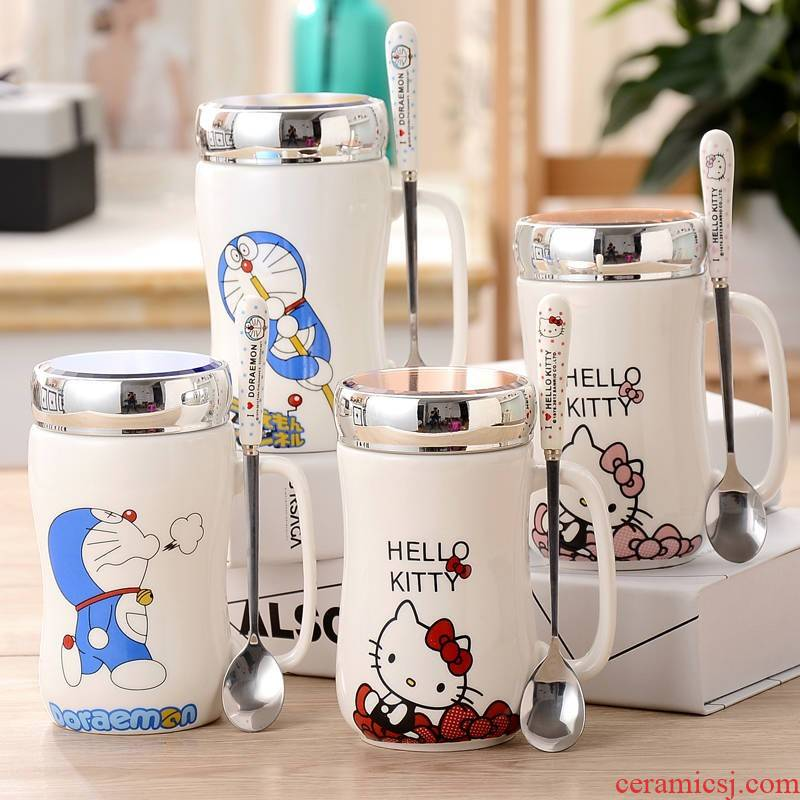 Mirror cover animation cartoon fashion belt cover blue fat couples lovely doraemon ceramic cup keller cup