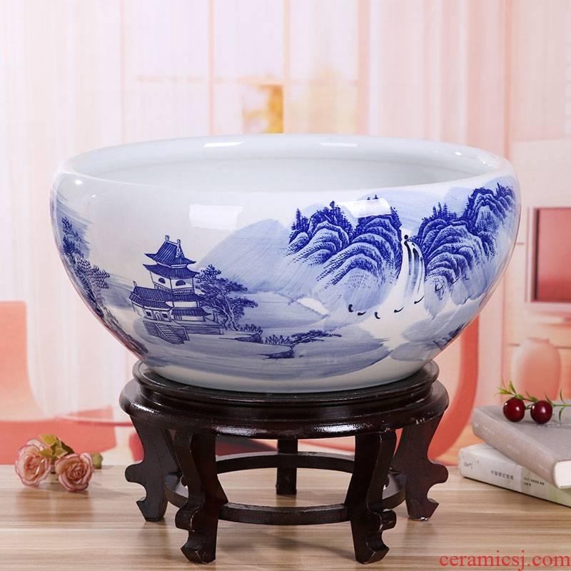 Jingdezhen ceramic aquarium large basin of blue and white sleep keep goldfish bowl lotus lotus tortoise GangPen furnishing articles in the living room