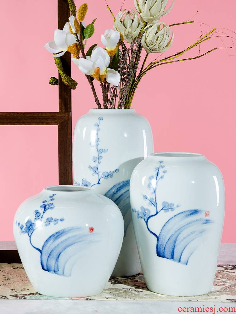Dried flower flower implement Nordic white ceramic vase furnishing articles I and contracted sitting room home hotel soft adornment arranging flowers
