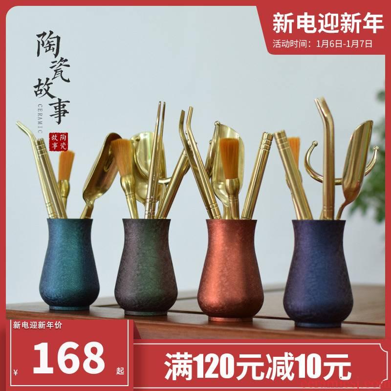 Ceramic story six gentleman 's suit pure copper copper kung fu tea accessories ChaGa tea spoon, knife gentleman of a complete set of 6