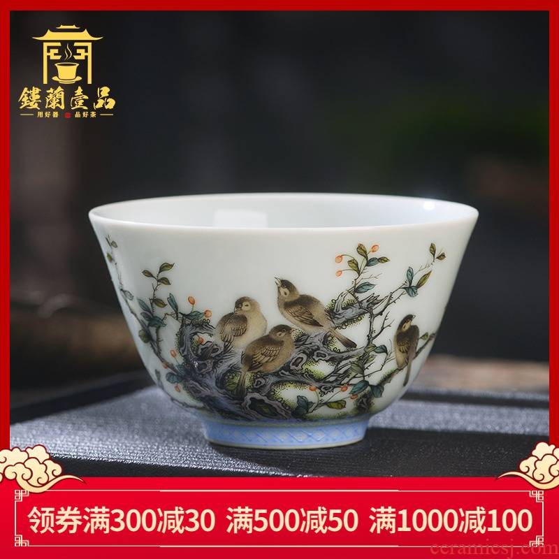 Jingdezhen cold tea sample tea cup hand - made ceramic famille rose finch figure master cup single CPU kung fu tea tea cup