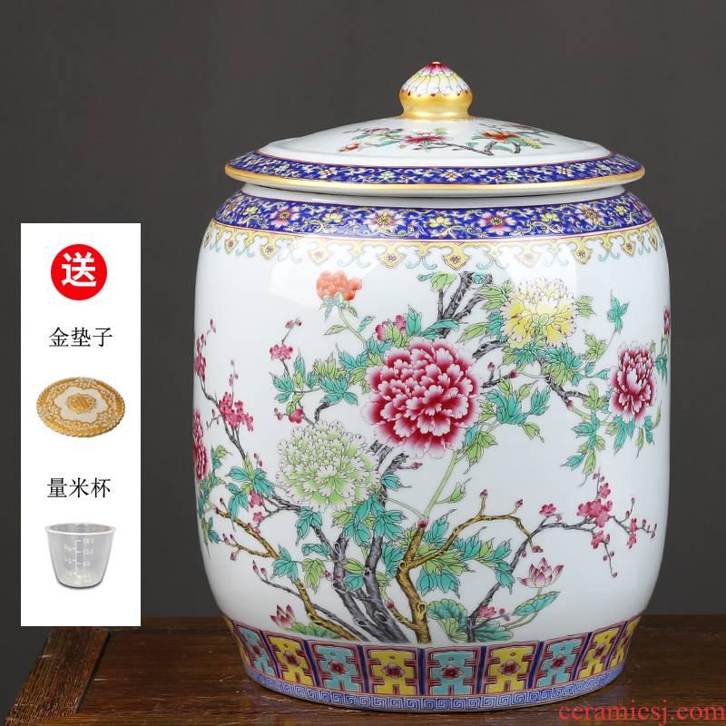 Jingdezhen ceramic pot store content of household barrel tea leaves tea urn storage tanks tank cylinder with cover puer tea cake