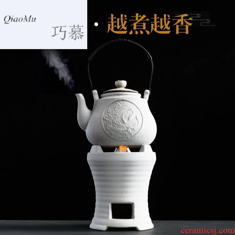 Qiao mu Japanese warm tea ware alcohol stove ceramic pot cooking kung fu tea ware mini'm restoring ancient ways of tea hot teapot