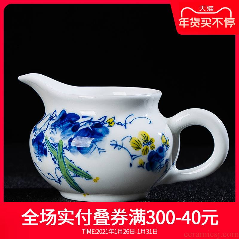 Hand draw colorful towel gourd justice cup and a cup of jingdezhen blue and white porcelain is checking ceramic tea set with parts tea tea ware