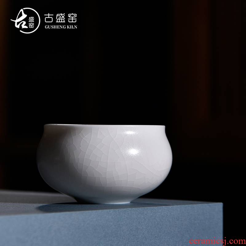 The ancient ocean 's new sheng up celadon cup on your up white glazed hat cup single cup masters cup opening them thin body