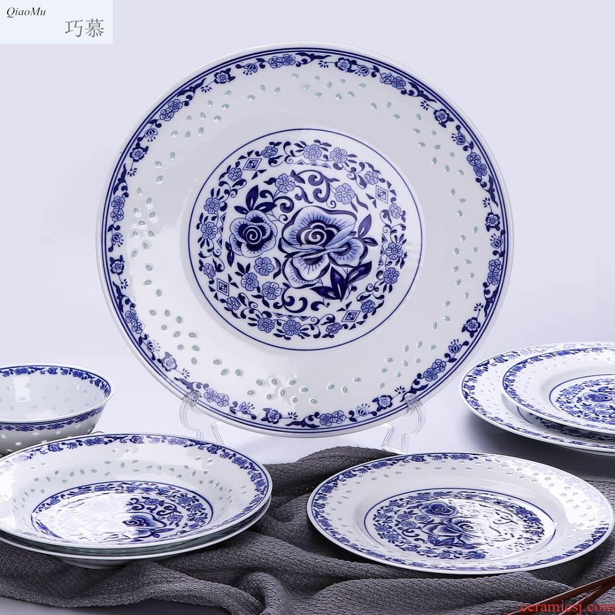 Qiao mu jingdezhen porcelain and ceramic dish dish dish 8 inches large capacity MeiYing soup dish plates