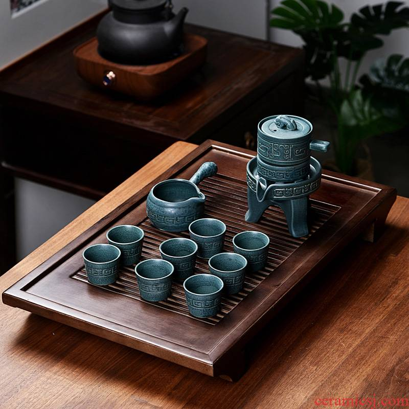 Hui shi kung fu tea tray ceramic real wood violet arenaceous household contracted semi - automatic tureen sitting room tea sets, small tea tray
