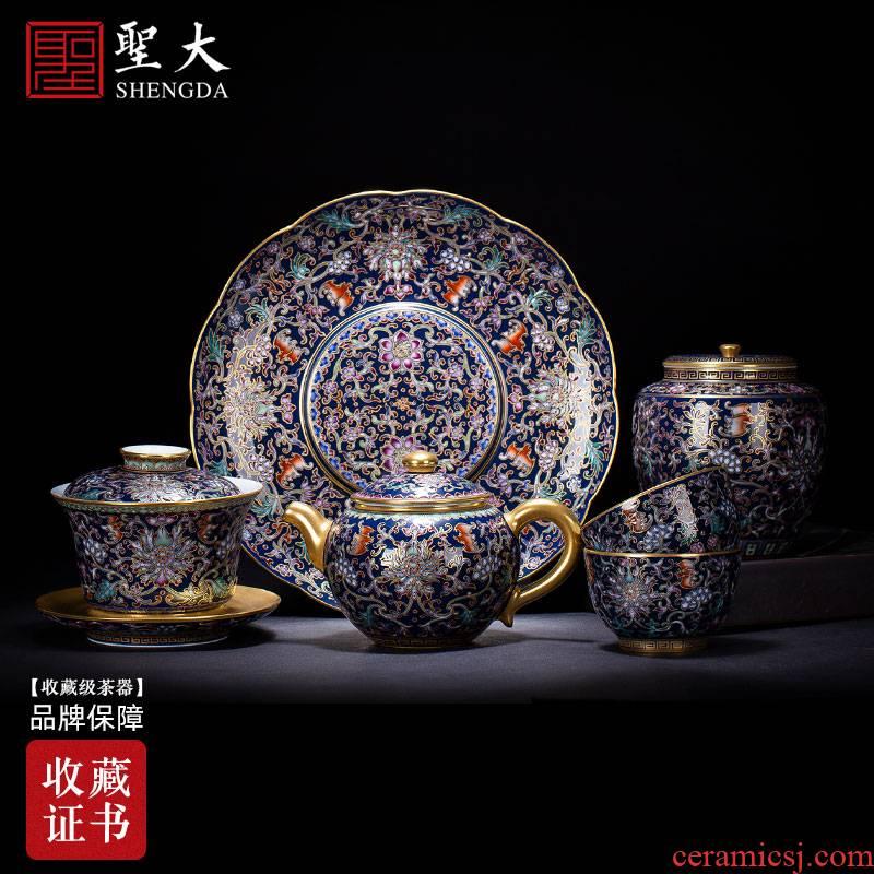 Santa teacups hand - made ceramic kung fu ji blue glaze colored enamel paint flowers of jingdezhen tea service manual sample tea cup