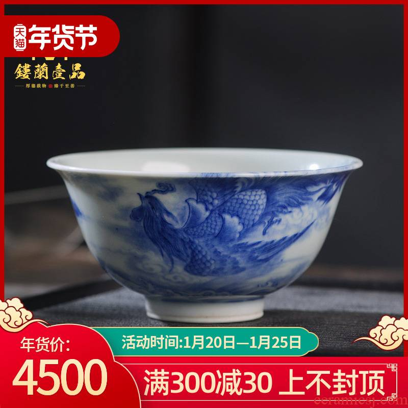 Jingdezhen ceramic all hand - made porcelain wall phoenix master cup kung fu tea cup personal tea cup