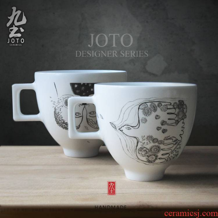 About Nine soil ins wind ceramic breakfast cup integration of design of French painter Xu Yawen coffee cup does coffee cup