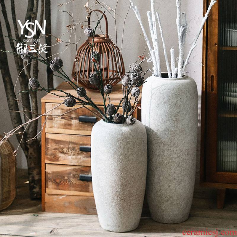 Royal three mud furnishing articles vases, ceramic floor flower arranging flower POTS Nordic I and contracted dry flower creative living room