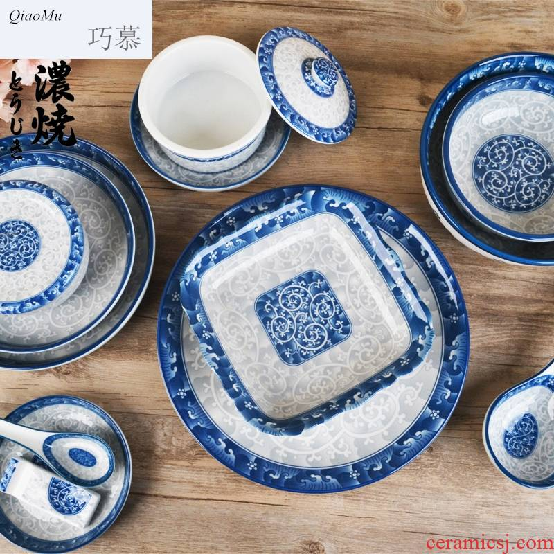 Qiao mu Chesapeake ceramic tableware glaze color rice bowls Korean household contracted rainbow such as bowl soup bowl of the big flat plates