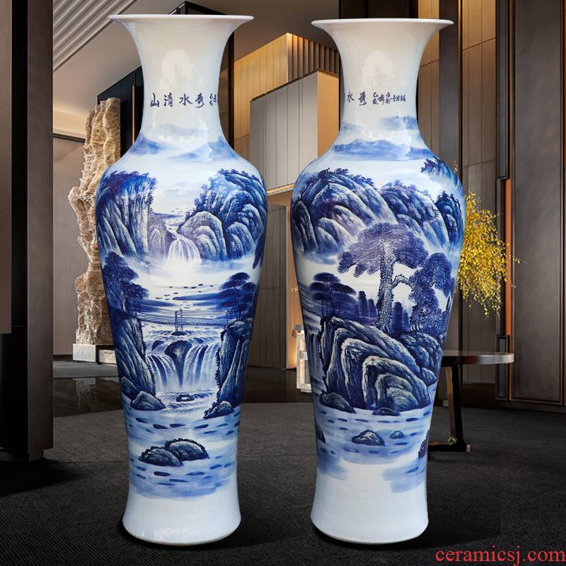 Jingdezhen blue and white ceramics hand - made large vases, flower arrangement sitting room adornment style furnishing articles to his new gifts
