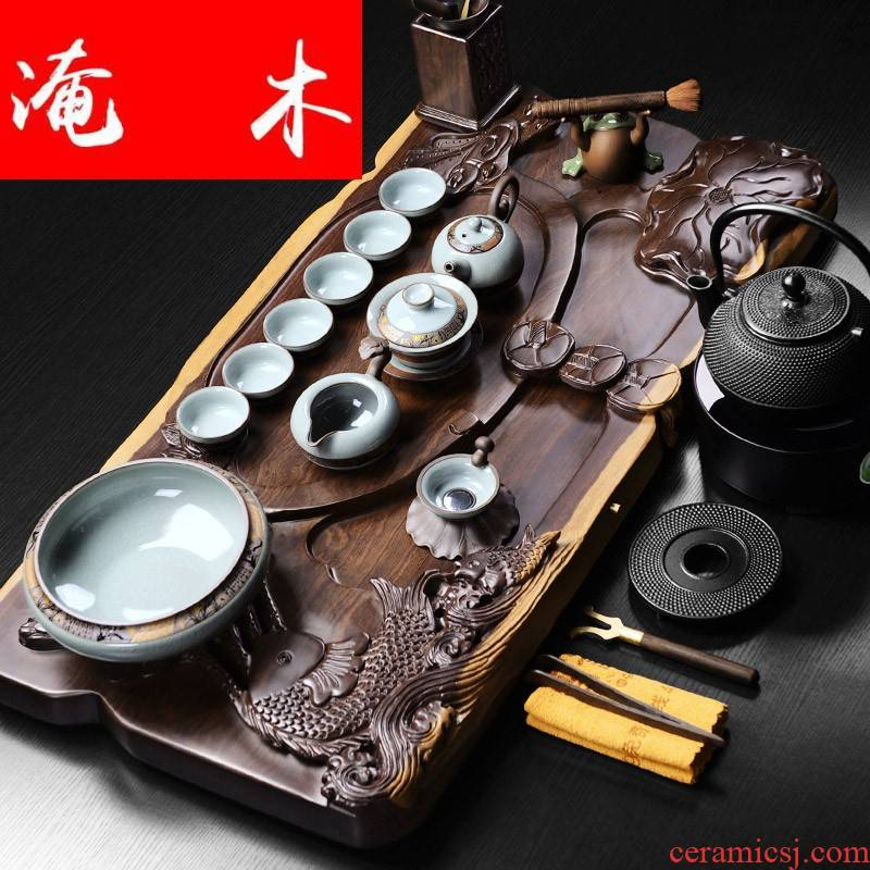 Flooded the whole piece of ebony wood tea tray was imitation elder brother up with violet arenaceous kung fu tea sets the whole household contracted and I