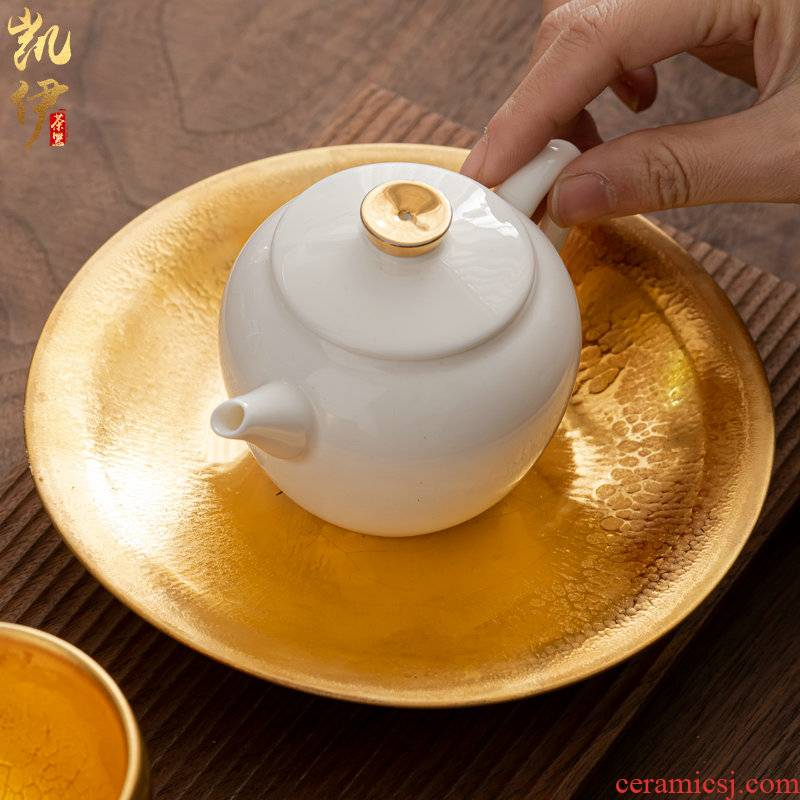 Oil drip cup of gold bearing masters hand full manual tire iron teapot plate making light snacks small ceramic teapot