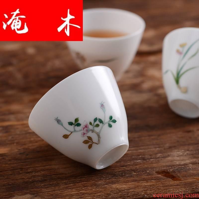 Submerged wood jingdezhen jade mud sample tea cup all hand master of kung fu tea set sample tea cup enamel hand - made of CPU customization