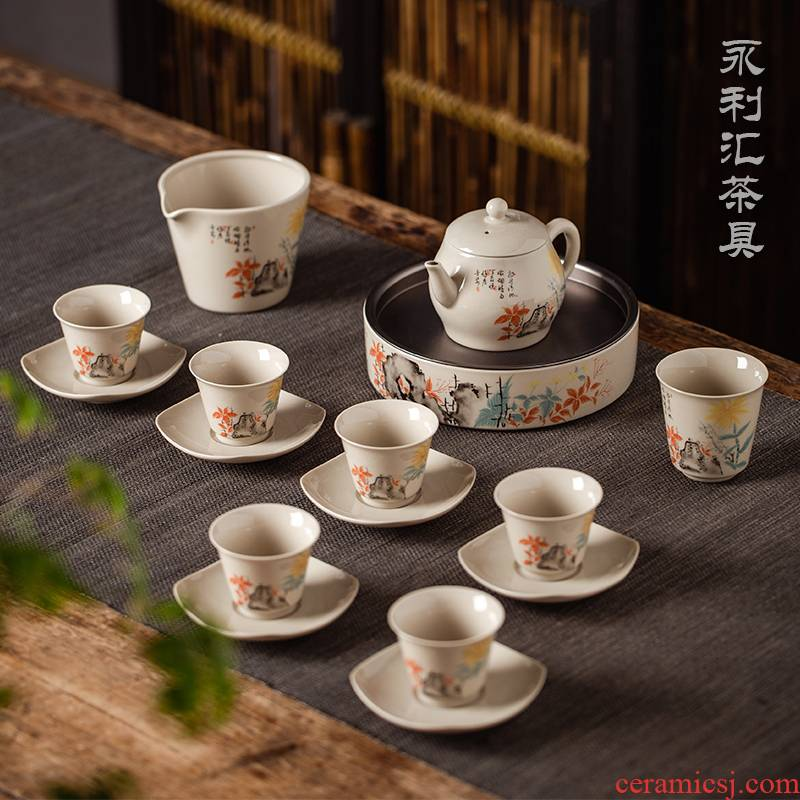 Public remit kung fu tea set gift box tea cozy home office group of Chinese style restoring ancient ways of jingdezhen ceramics