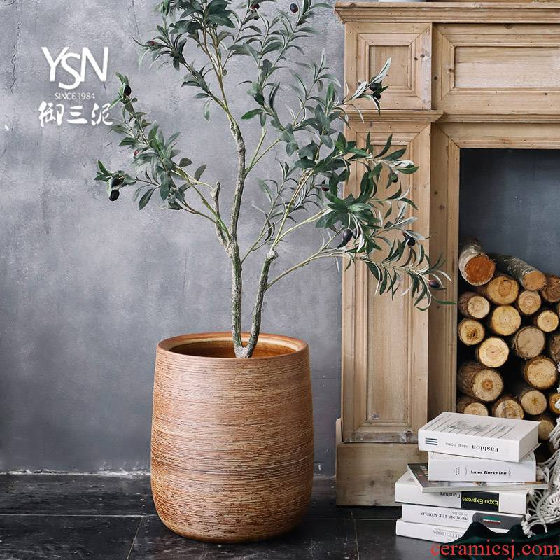 The Big vase furnishing articles sitting room ground flower arranging Nordic decoration creative household contracted green plant ceramic flower pot cylinder